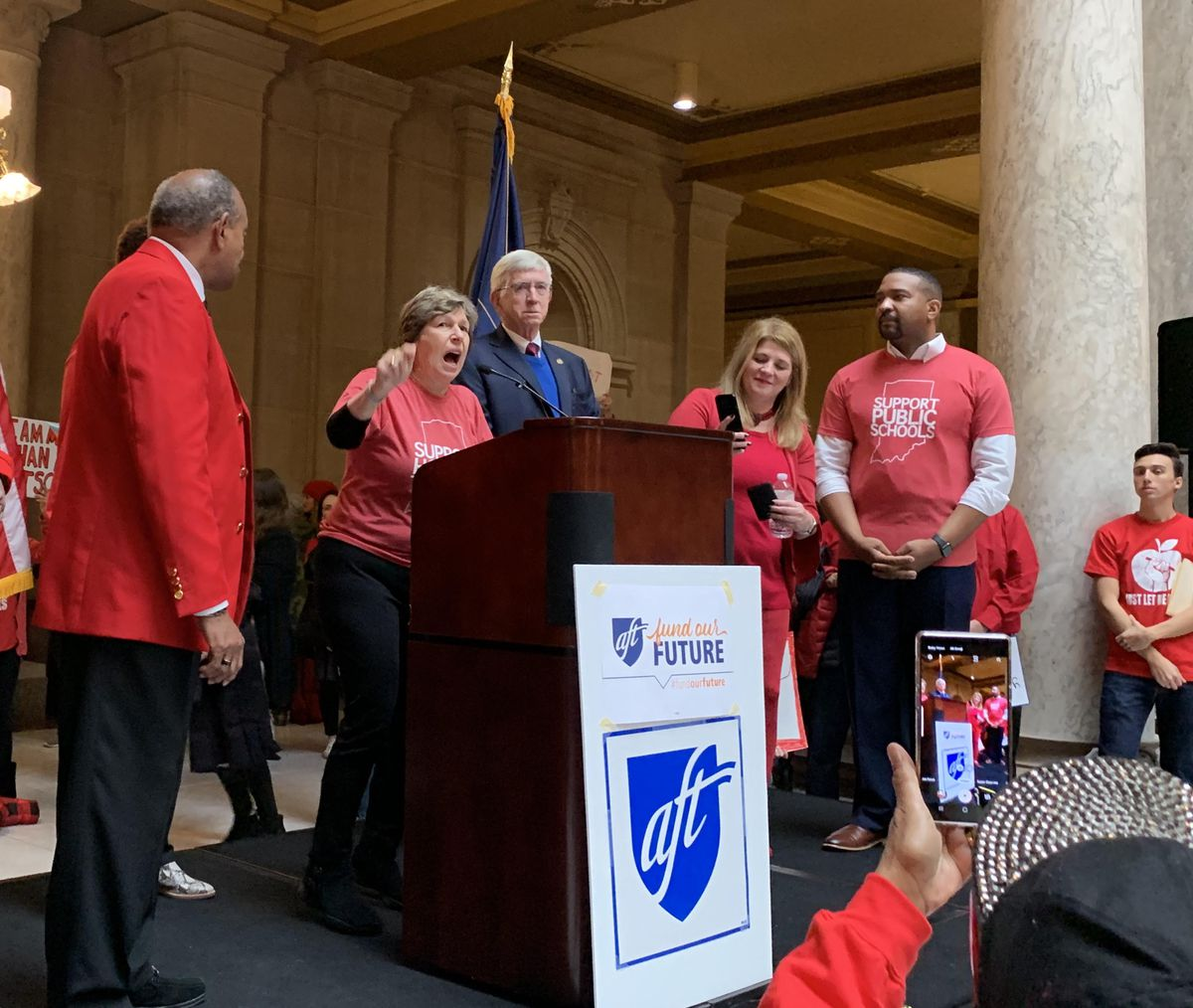 American Federation of Teachers President Randi Weingarten addresses a crowd of Red For Ed rally participants at the Indiana Statehouse on Nov. 19, 2019.