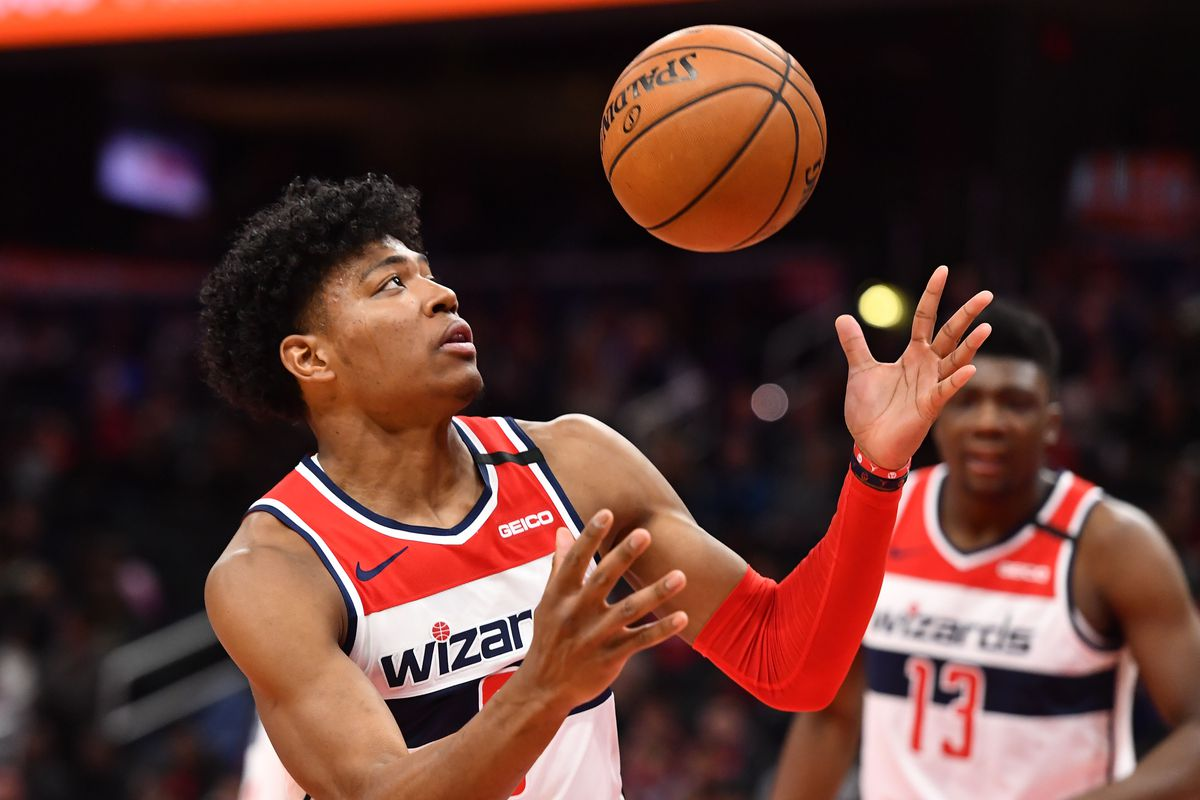 Washington Wizards forward Rui Hachimura grabs a rebound against the Atlanta Hawks during the first half at Capital One Arena.