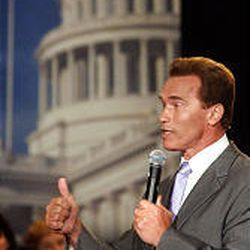 Republican gubernatorial candidate Arnold Schwarzenegger speaks at town hall-style meeting in Sacramento, Calif., Tuesday.
