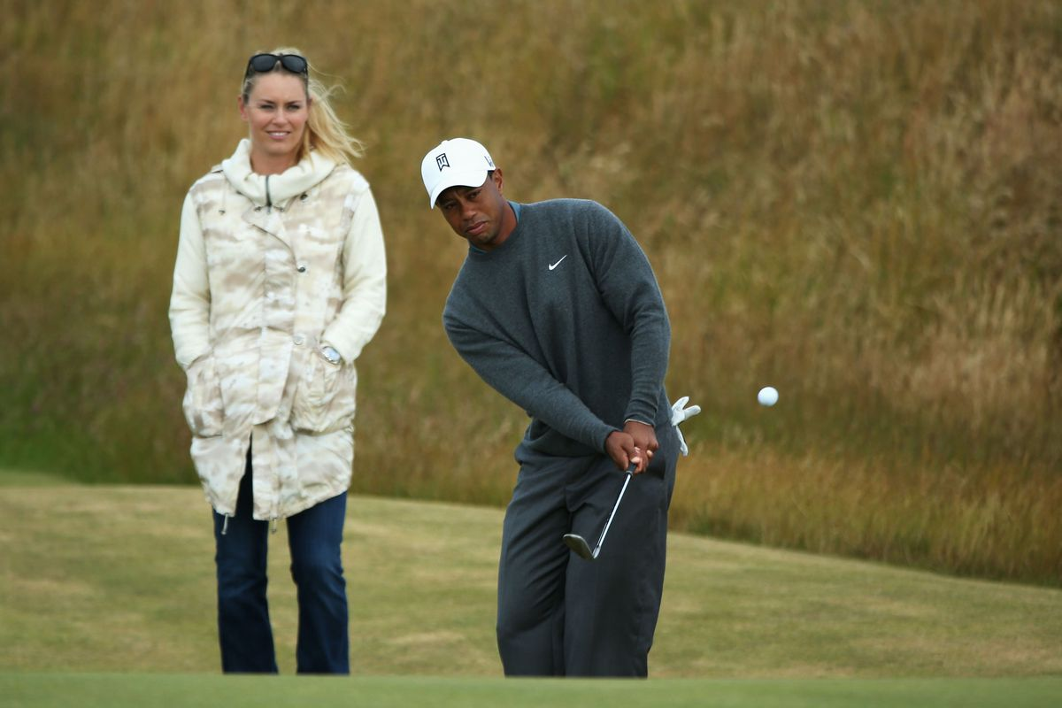 tiger woods  lindsey vonn make the rounds at muirfield