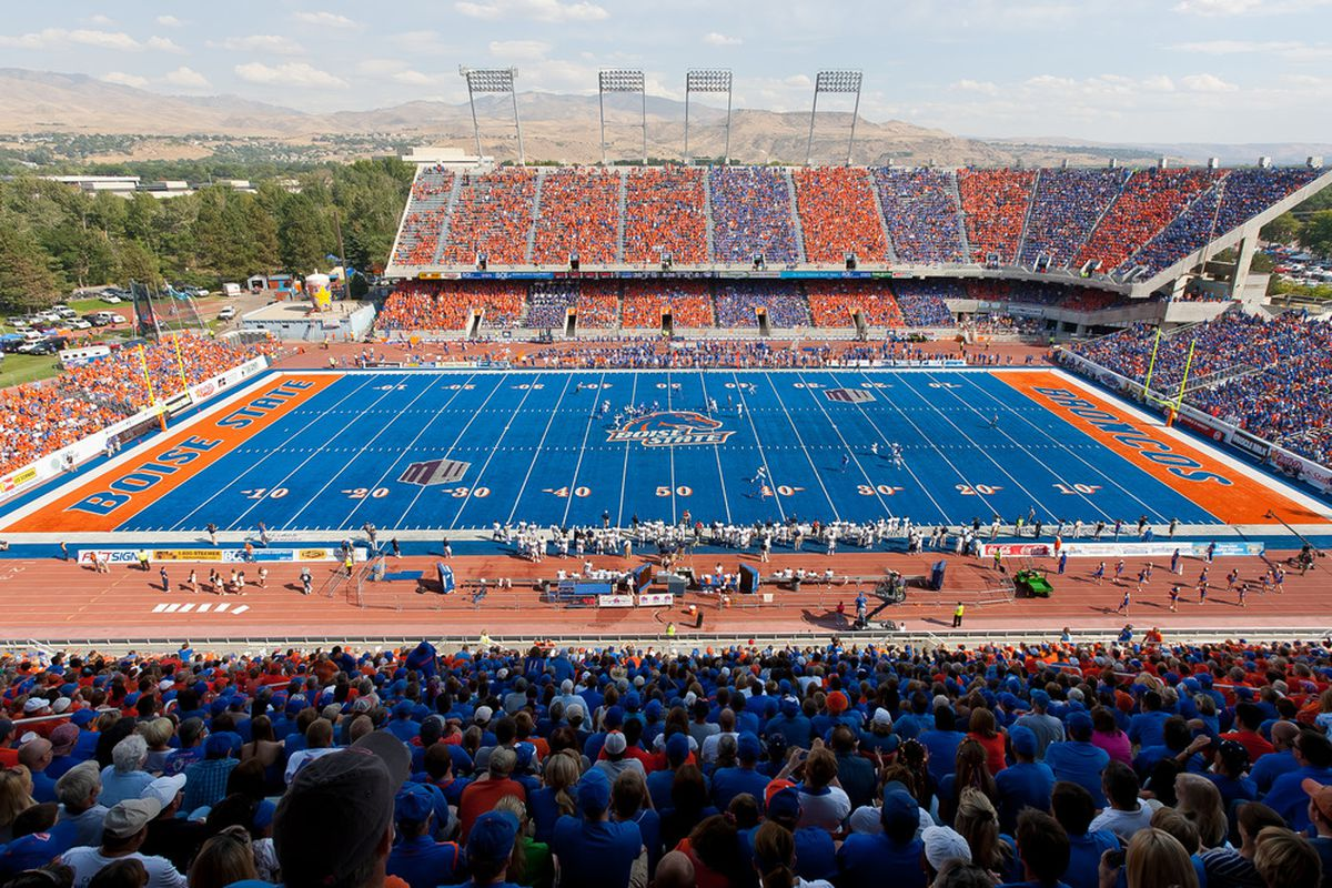 BOISE, ID - OCTOBER 01:  A general view of Bronco Stadium during the game between the Nevada Wolf Pack and the Boise State Broncos on October 1, 2011 in Boise, Idaho.  (Photo by Otto Kitsinger III/Getty Images)