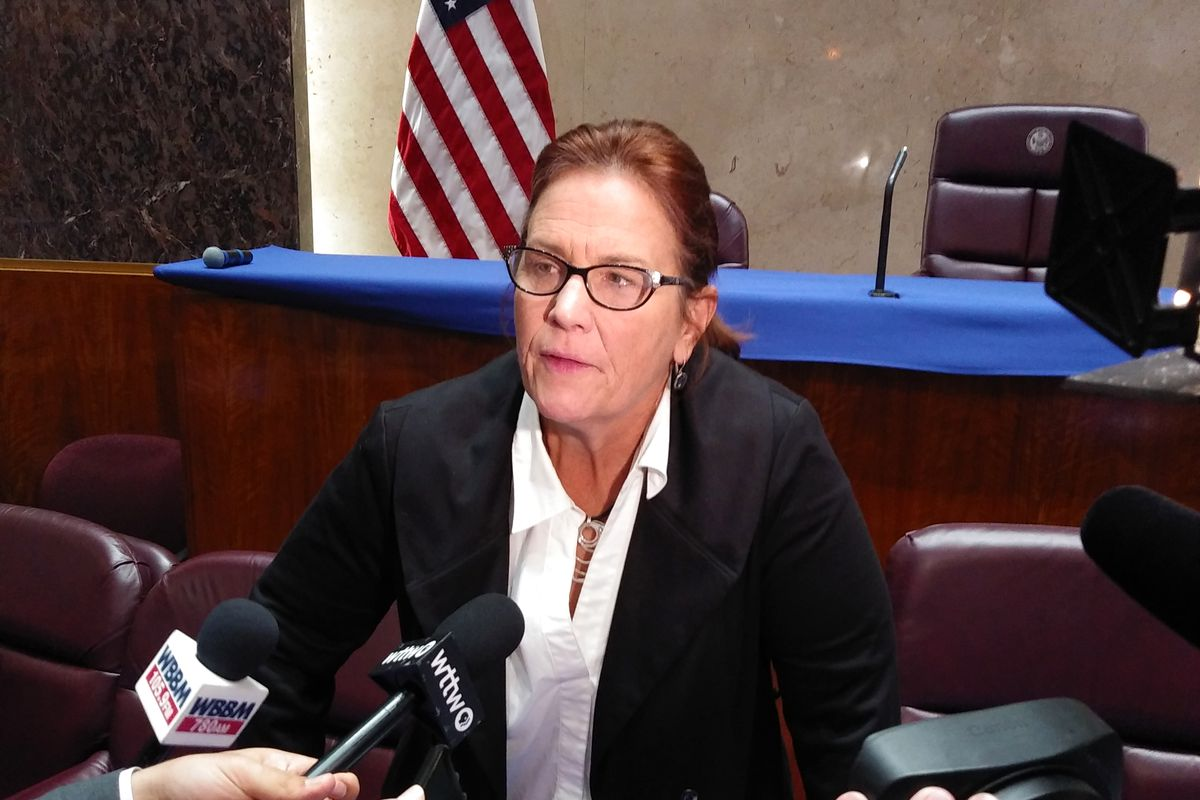 Ald. Susan Sadlowski Garza (10th) talks with reporters after a Committee on Workforce Development meeting Monday, July 22, 2019.
