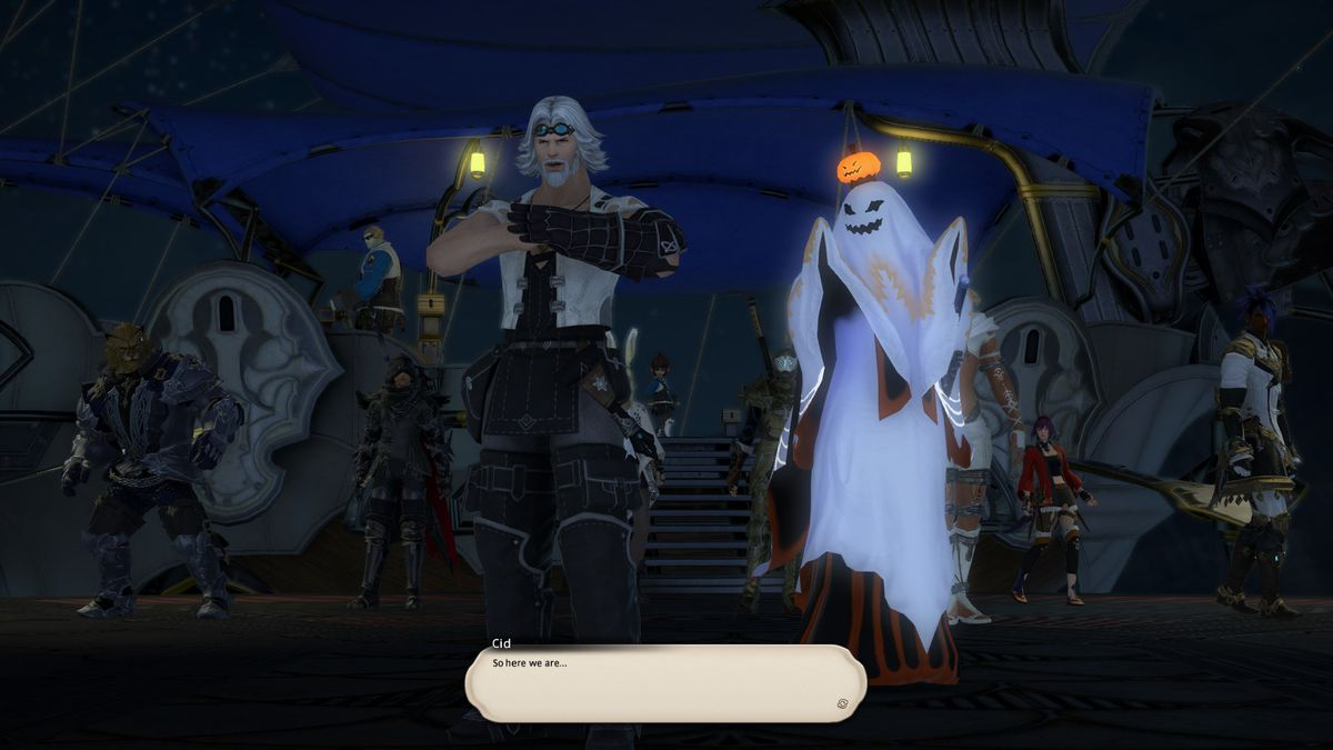 A person in a ghost costume stands next to Cid, a Final Fantasy 14 NPC, who is about to lead an attack on an enemy base.
