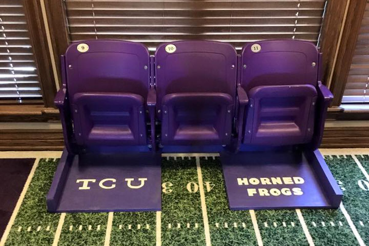 Janie Skelton Self's (WO)man cave has chairs from the old Amon G. Carter Stadium.