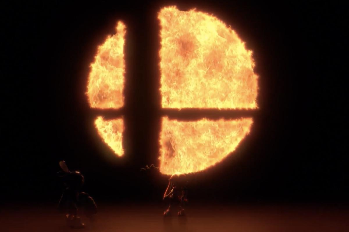 The Super Smash Bros logo in flame