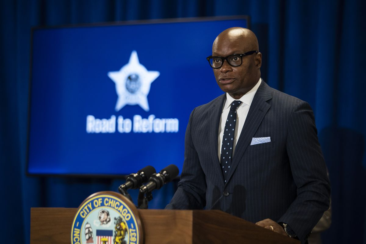 Chicago Police Supt. David Brown speaks during a press conference at City Hall to announce the city's new Use of Force Working Group, designed to to review the police department's policies pertaining to use of force, Monday morning, June 15, 2020. | Ashlee Rezin Garcia/Sun-Times