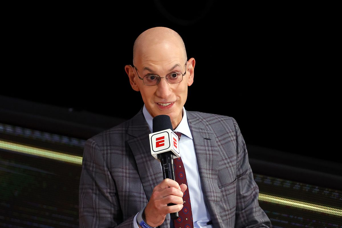 NBA Commissioner Adam Silver is interviewed before Game Three of the 2020 NBA Finals between the Miami Heat and the Los Angeles Lakers at AdventHealth Arena at ESPN Wide World Of Sports Complex on October 04, 2020 in Lake Buena Vista, Florida.