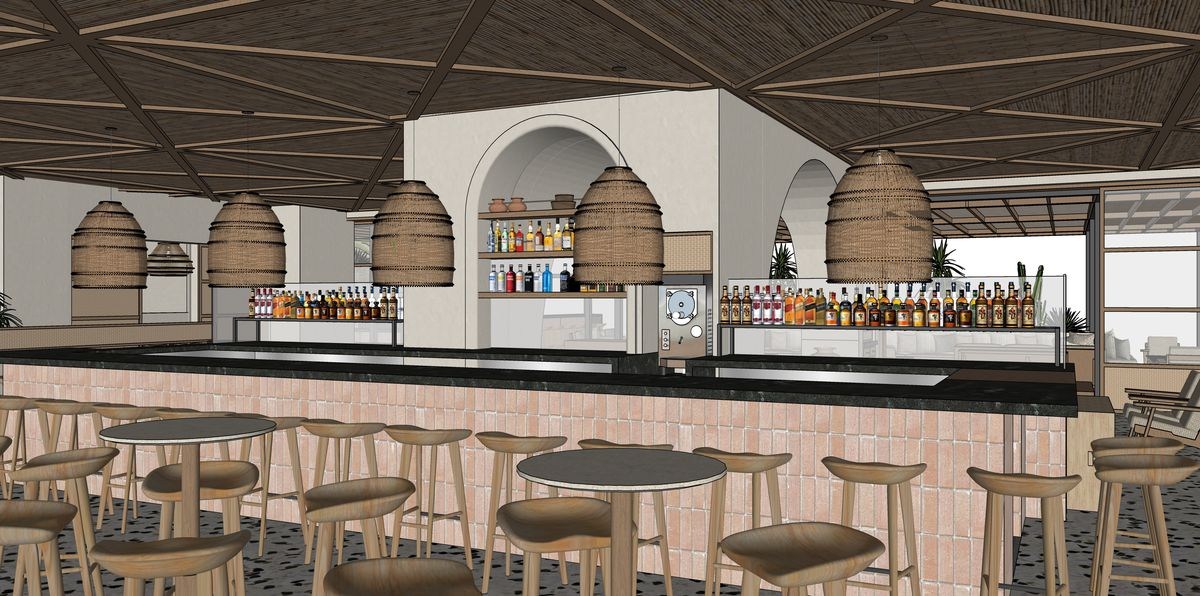 A rendering of a very beige bar