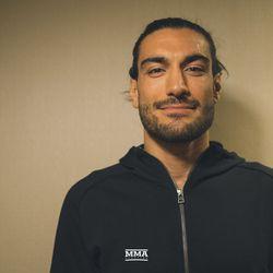 Elias Theodoru poses at UFC 231 media day.