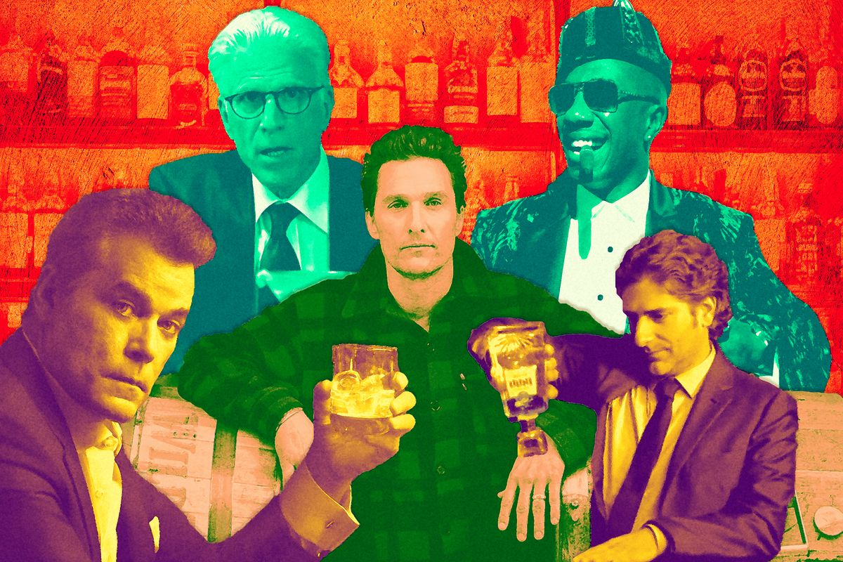 Collage of older male celebrities featured in liquor commercials