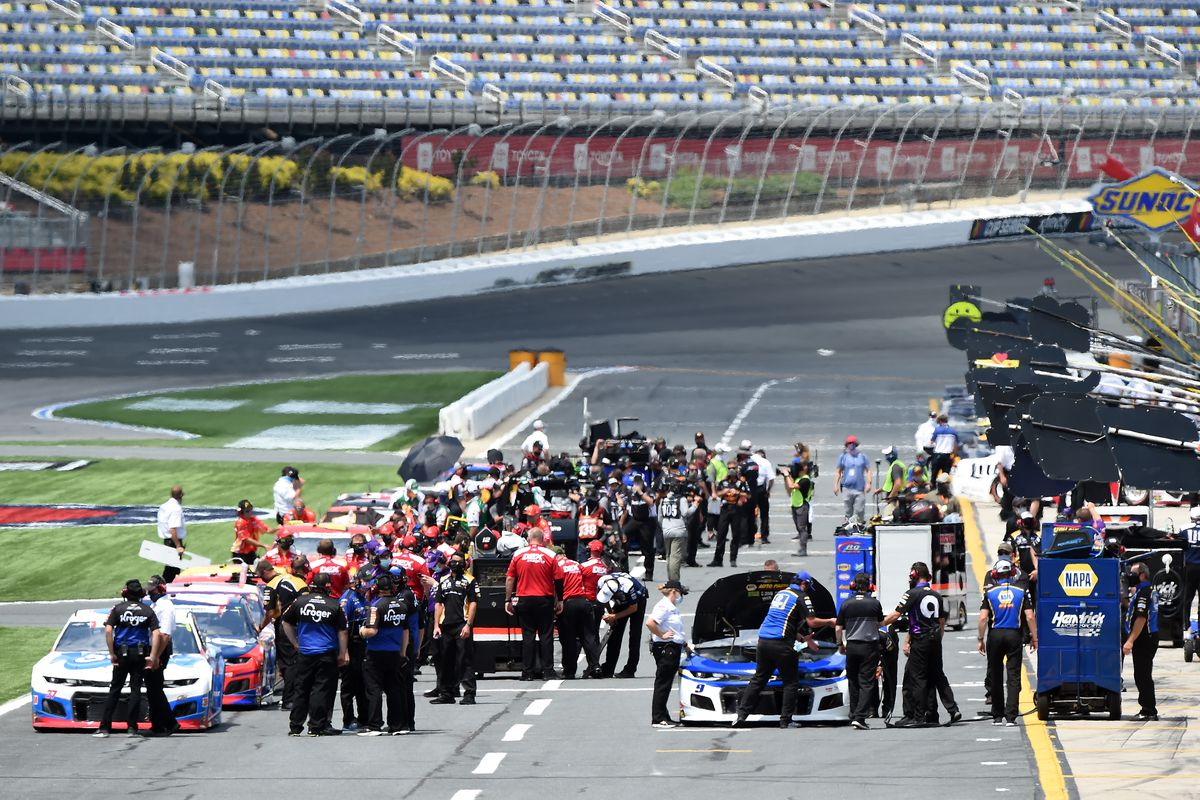 A general view of the grid during qualifying for the NASCAR Cup Series Coca-Cola 600 at Charlotte Motor Speedway on May 24, 2020 in Concord, North Carolina.