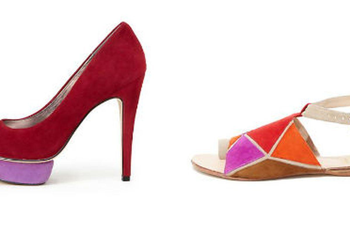 "<a href=""http://www.dolcevita.com/All-Sale/Boston-Colorblock-Heel/PAOIICBFPEGFKEJO/3042-3125/Product"">Boston color-block heel</a>, $39.95 (was $99) and <a href=""http://www.dolcevita.com/All-Sale/Maeko-Sandal/PAOIICFJKONJANKE/3042-3125/Product"">Maeko"