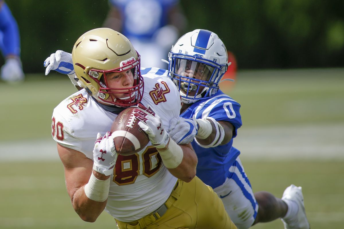 Boston College Eagles tight end Hunter Long (80) catches a pass against Duke Blue Devils safety Marquis Waters in the fourth quarter at Wallace Wade Stadium. The Boston College Eagles won 26-6.