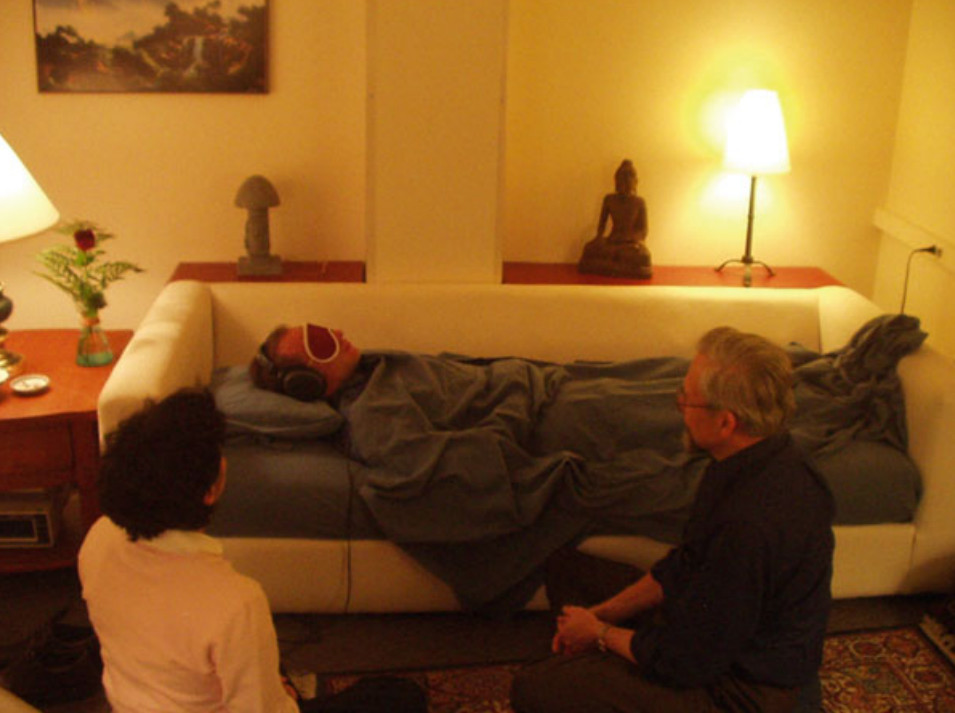 The latest, most rigorous psychedelic studies tend to take place in settings like this living room, where researchers watch over subjects as they experience the effect of the drugs.