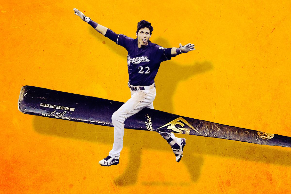 A photo illustration of Brewers outfielder Christian Yelich astride a close-up of a baseball bat