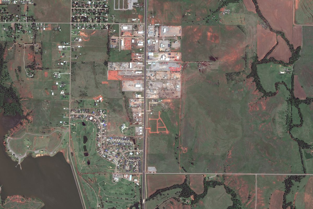 ELK CITY, OKLAHOMA - MAY 17, 2017: This is a DigitalGlobe overview satellite imagery of the Elk City, Oklahoma tornado path.