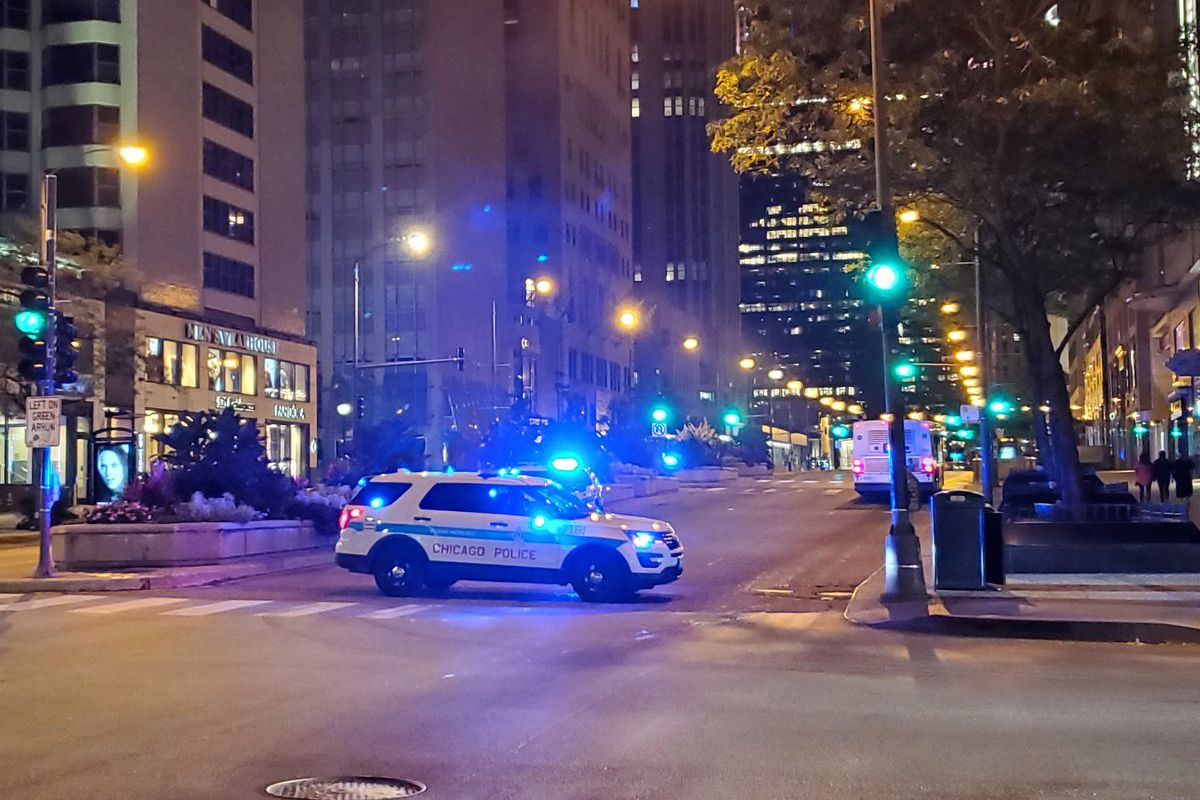 Chicago police block traffic downtown Sept. 15, 2020.