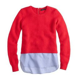 "J. Crew lambswool shirttail sweater, <a href=""https://www.jcrew.com/womens_category/sweaters/Pullover/PRDOVR~B1225/B1225.jsp"">$98</a>"