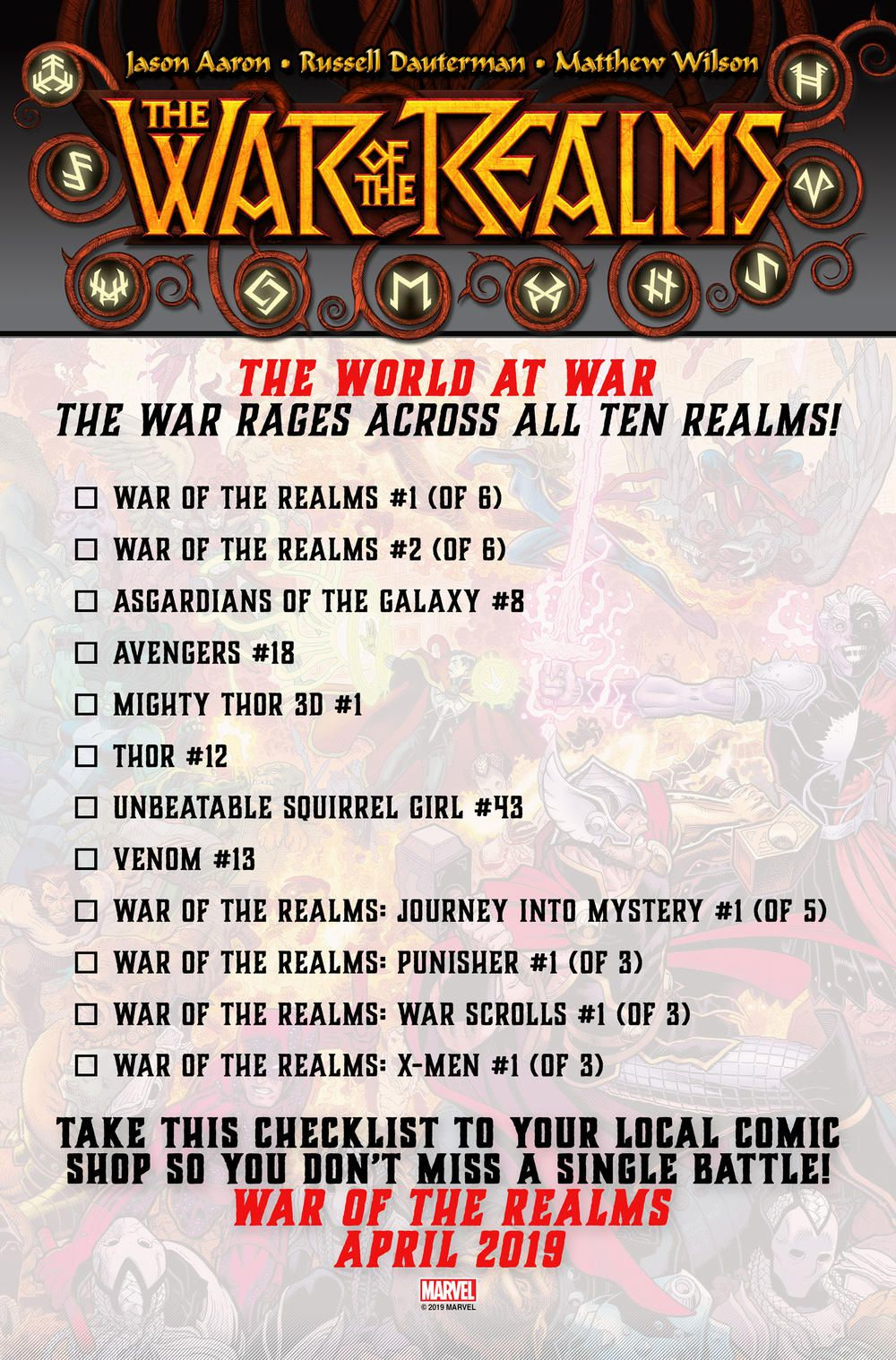 War of the Realms checklist