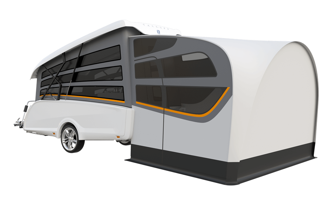 An exterior view of the white trailer with an optional tent annex.
