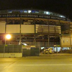 5:56 p.m. The front of the ballpark. Note the exposed sections, on the left side of this photo -