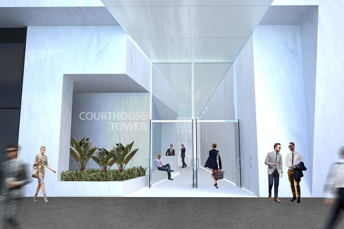 Rendering of the renovated façade at Courthouse Tower
