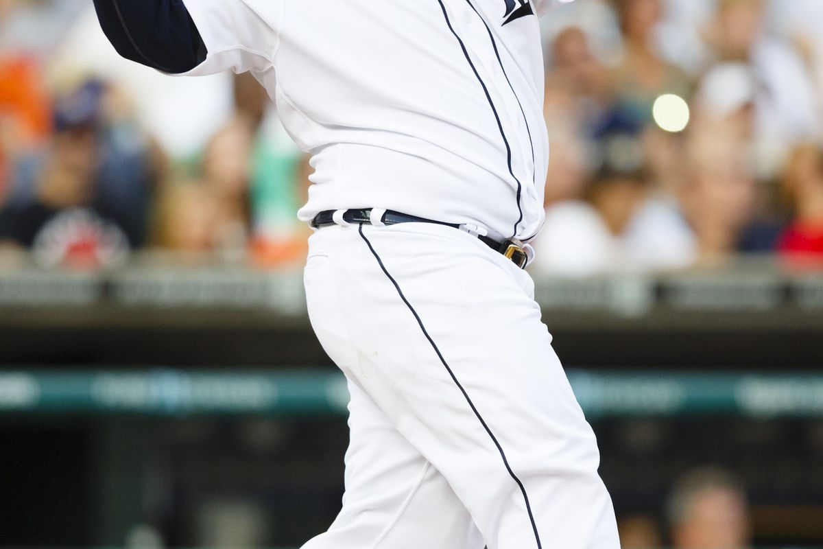 August 3, 2012; Detroit, MI, USA; Detroit Tigers first baseman Prince Fielder (28) hits a two RBI double during the third inning against the Cleveland Indians at Comerica Park. Mandatory Credit: Rick Osentoski-US PRESSWIRE