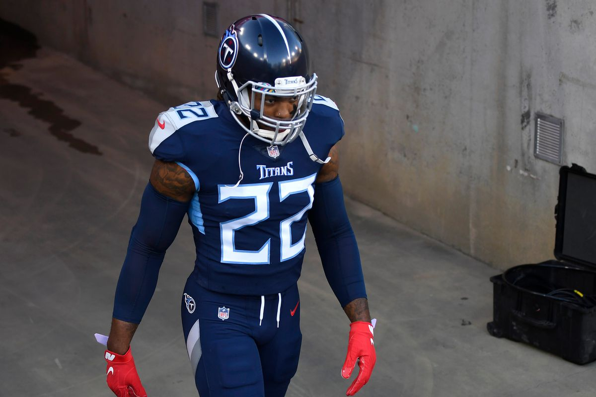Tennessee Titans running back Derrick Henry (22) walks out of the tunnel before the game against the Buffalo Bills at Nissan Stadium