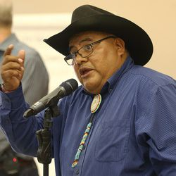 Malcolm Lehi speaks during a meeting in Bluff with Interior Secretary Sally Jewell, as they express their feelings about the preposed Bears Ears National Monument in southern Utah on Saturday, July 16, 2016.