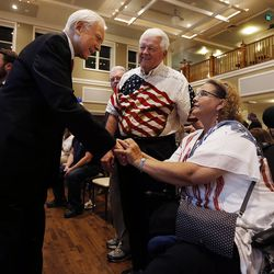 Sen. Orrin Hatch, R-Utah, greets Ted and Linda Neff at an election night party in South Jordan on Tuesday, Nov. 8, 2016.