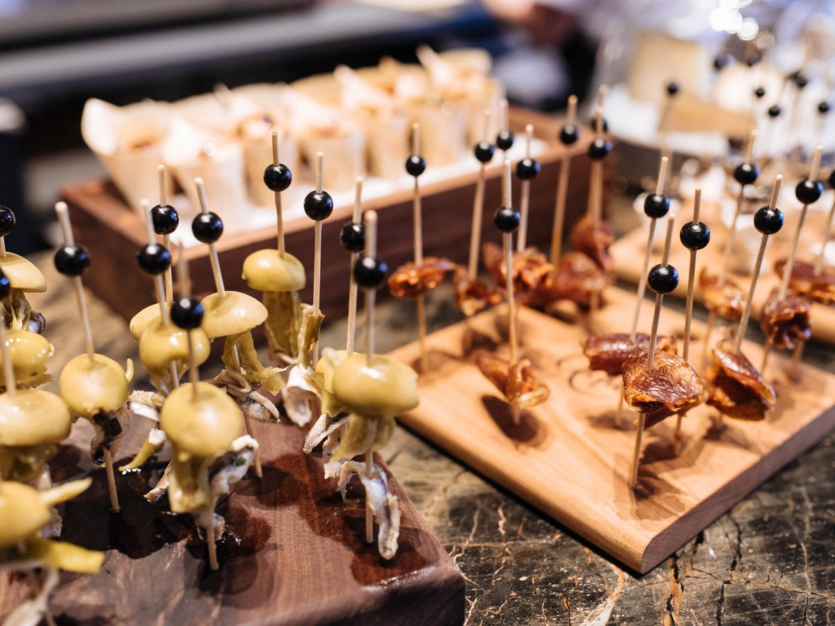 Basque-style pintxos, or finger foods secured with toothpicks