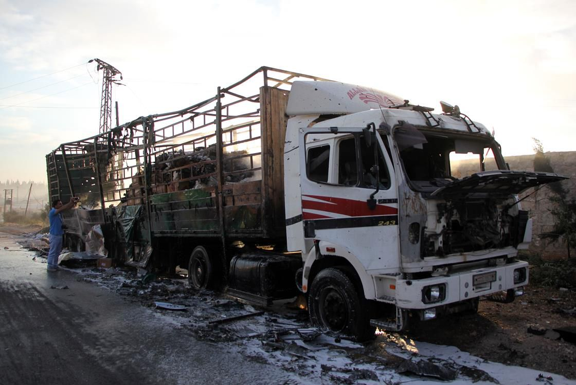 bombed-out truck in Syria