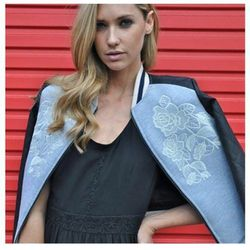 """Finders Keepers Quilted Embroidered Vegan Leather Bomber, $228 at <a href=""""https://www.facebook.com/TheGeishaHouse1"""">The Geisha House</a>"""