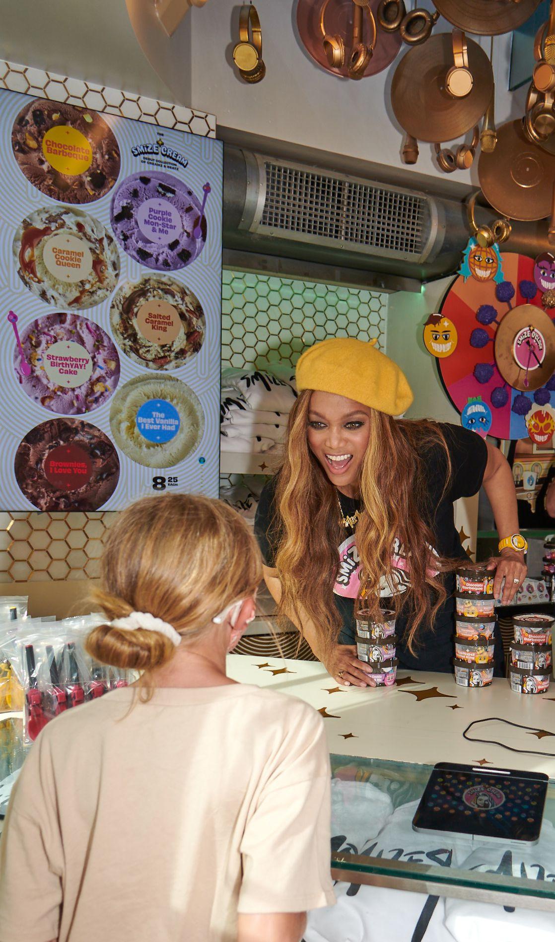 Smize Cream shop owner Tyra Banks in Santa Monica, California
