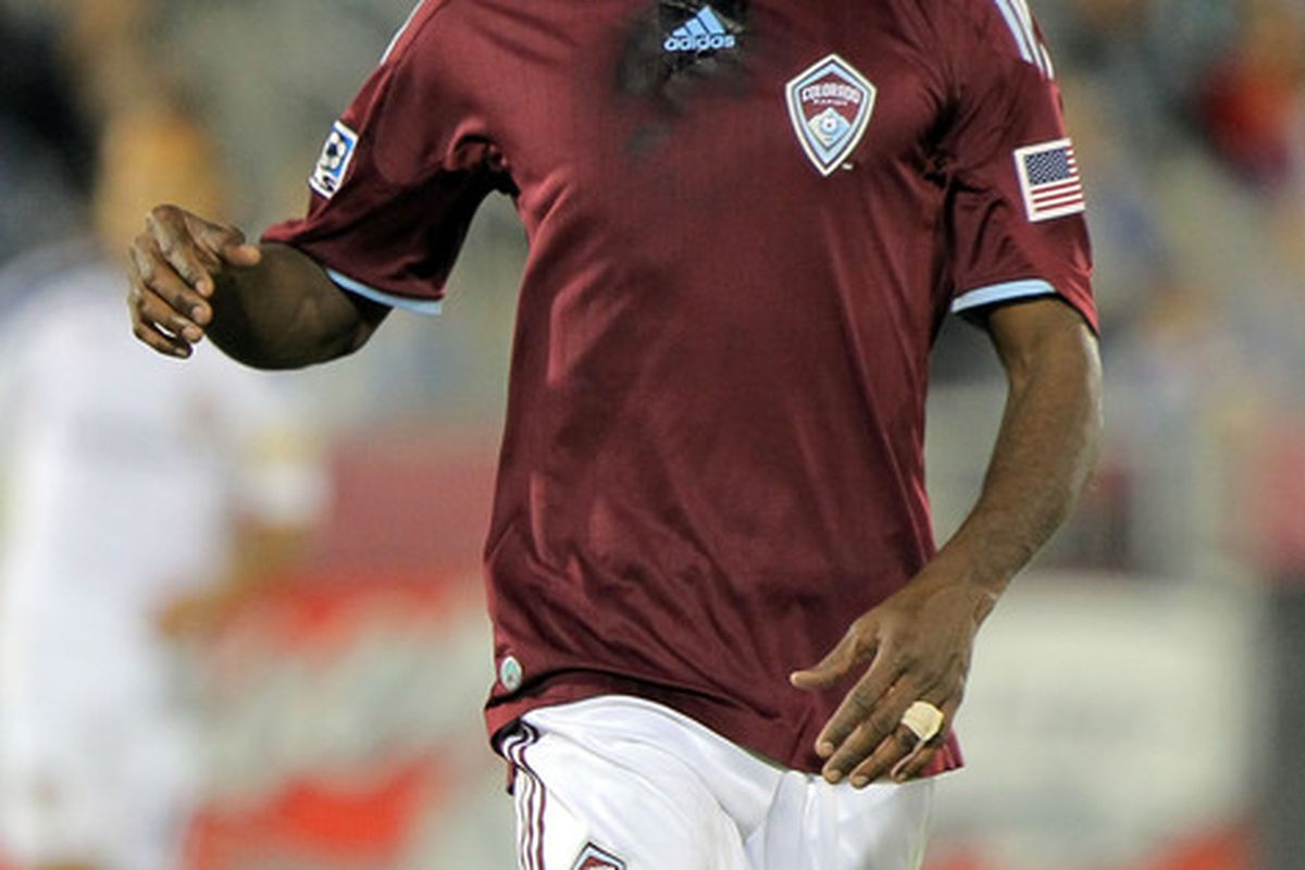 Omar Cummings will be missing from tomorrow night's Colorado Rapids line up due to an ankle injury. (Photo by Doug Pensinger/Getty Images)