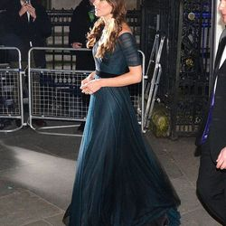 At the National Portrait Gallery Gala on February 11th, 2014 in a Jenny Packham gown.