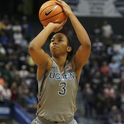 UConn's Megan Walker (3) shoots a free throw during the Notre Dame Fighting Irish vs UConn Huskies women's college basketball game in the Women's Jimmy V Classic at the XL Center in Hartford, CT on December 3, 2017.