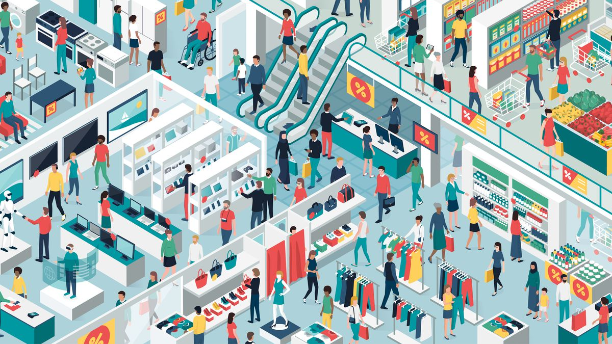 An illustration of a very crowded shopping mall.