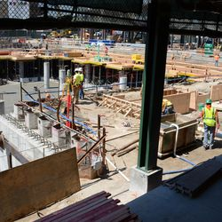 1:26 p.m. View of the plaza through what will be the new plaza entranceway -