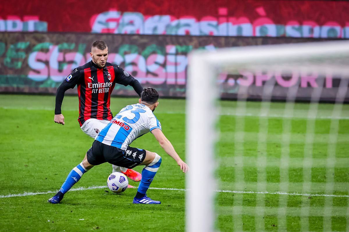 Ante Rebic of AC Milan in action during the Serie A 2020/21...