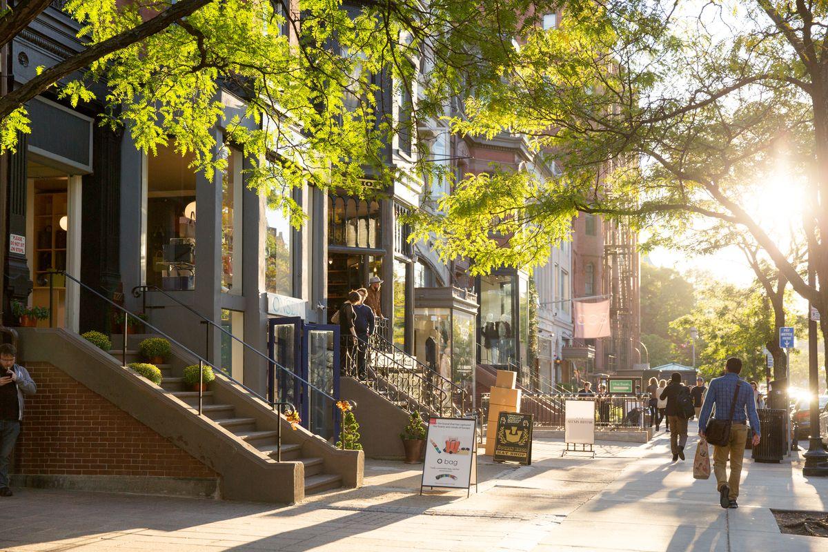 Shopping on Newbury Street in Boston.