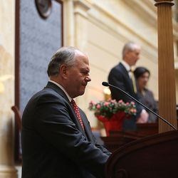 Elder Ronald A. Rasband, a member of the Quorum of the Twelve Apostles of The Church of Jesus Christ of Latter-day Saints, gives the opening prayer in the Senate on the first day of the Legislature at the Capitol in Salt Lake City on Monday, Jan. 25, 2016.