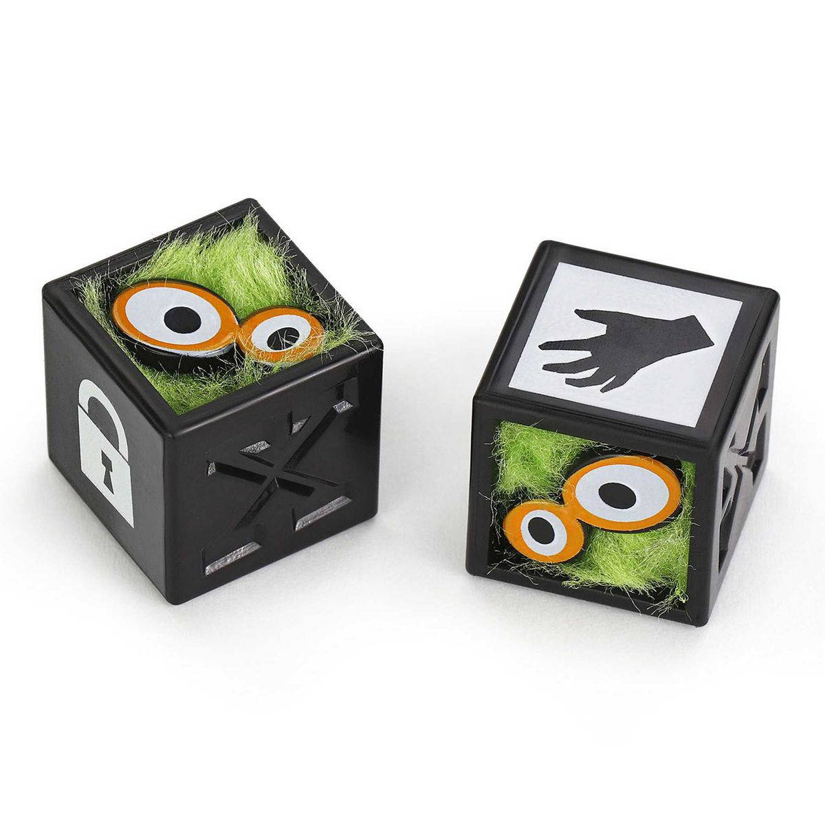 Two black dice with little green somethings inside.