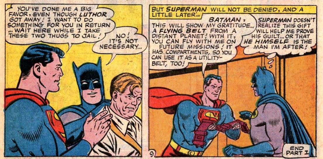 Superman gives batman a flying belt for his help in stopping one of Lex Luthor's schemes in World's Finest #153, DC Comics (1965).