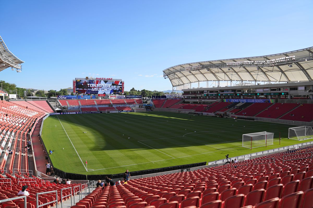 General view of the stadium Rio Tintoprior the NWSL game between Utah Royals FC and Portland Thorns FC at Rio Tinto Stadium on July 19, 2019 in Sandy, Utah.