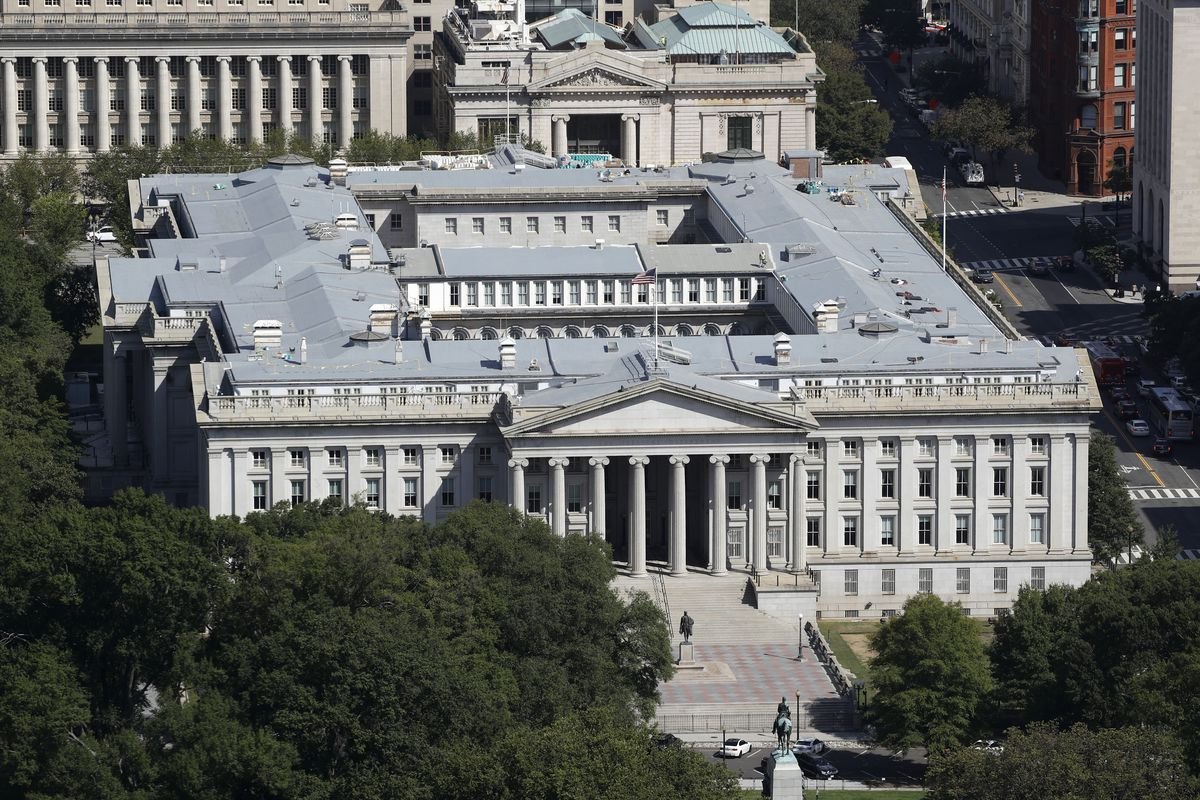The U.S. Treasury Department building viewed from the Washington Monument, Wednesday, Sept. 18, 2019, in Washington.