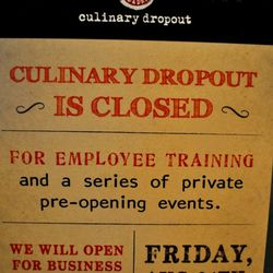 The sign outside Culinary Dropout.