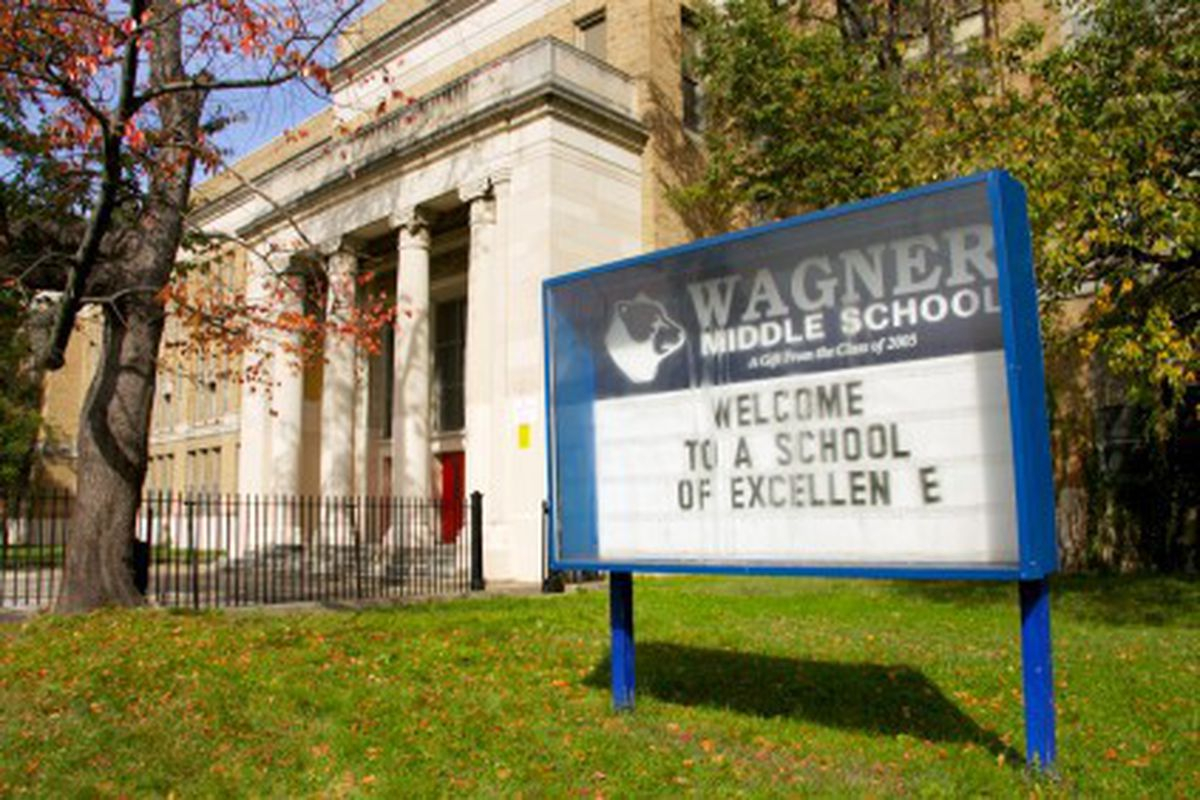 Exterior of Wagner Middle School.