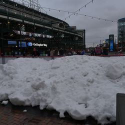 Large pile of snow in Gallagher Way