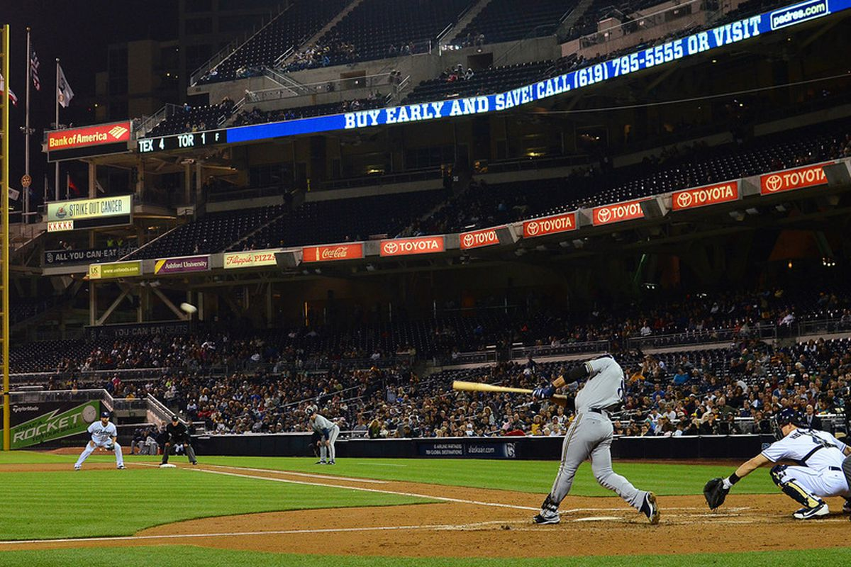 Apr 30, 2012; San Diego, CA, USA; Milwaukee Brewers left fielder Ryan Braun (8) hits a two run home run during the fifth inning against the San Diego Padres at PETCO Park.  Mandatory Credit: Jake Roth-US PRESSWIRE